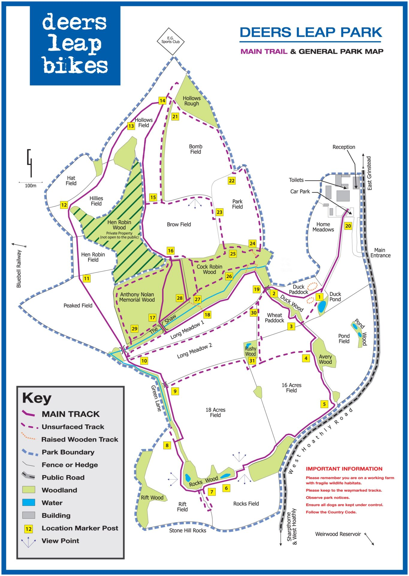 Map of Deers Leap mountain biking park Sussex